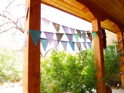 Pennants waved in the Spring breeze to welcome the attendees. We were in a large house at Ojo Caliente Resort & Spa, a very relaxing place to be. A professional chef prepared gourmet vegetarian meals.